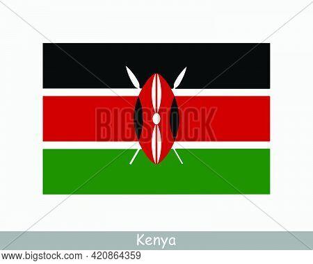 National Flag Of Kenya. Kenyan Country Flag. Republic Of Kenya Detailed Banner. Eps Vector Illustrat