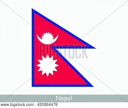 National Flag Of Nepal. Nepalese Country Flag. Federal Democratic Republic Of Nepal Detailed Banner.