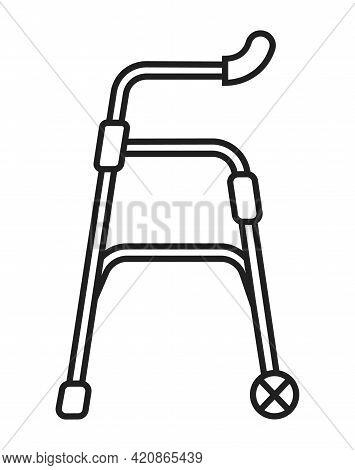 Walker, Disability Icon. Orthopaedic Rehabilitation Osteoporosis Vector.