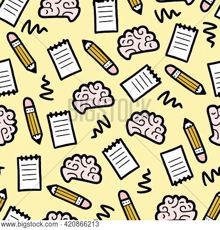 Hand Drawn Seamless Pattern Of Brainstorm, Idea, Strategy. Doodle Sketch Style. Isolated Vector Illu