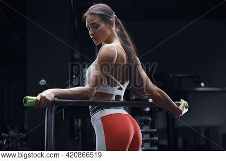 Athletic Fitness Woman With Body Bar .