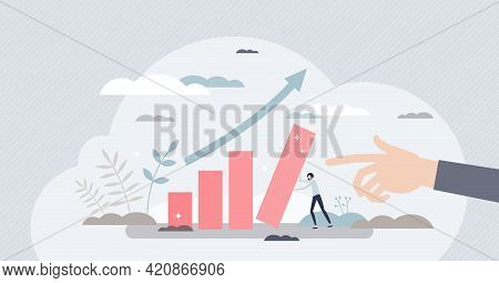 Performance Progress Or Improvement With Financial Growth Tiny Person Concept. Company Profit Chart