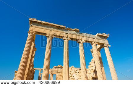 Clumns of The Erechtheion temple in Acropolis in Athens, Greece. Ancient greek architecture
