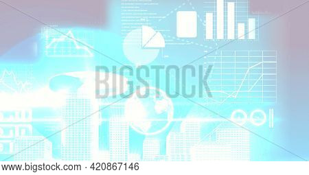 Composition of digital data processing over glowing blue background. digital interface and data processing concept digitally generated image.
