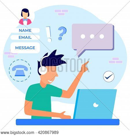 Flat Style Vector Illustration. Contact Us Form Templates For Web And Landing Pages. Male Clerk Serv