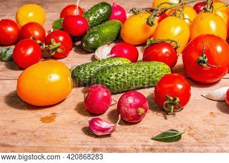 Assortment Of Ripe Organic Farmer Red And Yellow Tomatoes, Cucumbers, Radish, Garlic, And Fresh Basi