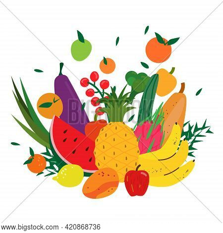 Vegetables And Fruits Composition Isolated On White. Flying Colorful Veggies And Fruits. Healthy Foo