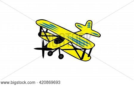 Illustration Of A Yellow Airplane. Vector Biplane.