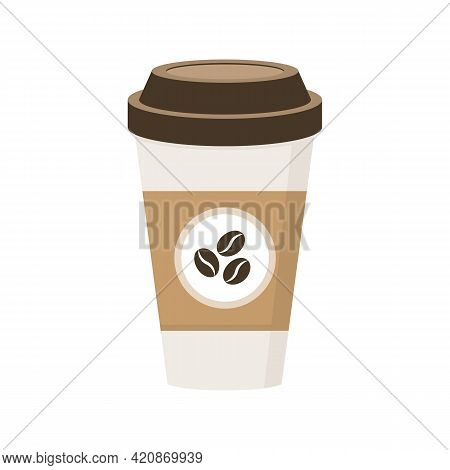 Coffee Paper Cup Isolated On White Background. Coffe Icon. Takeaway Energy Drink. Coffee Bean Concep