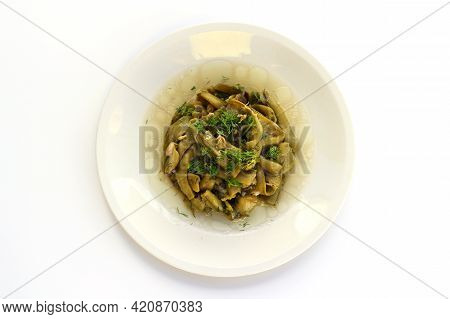 Broad Bean And Dill In The White Plate With White Background.