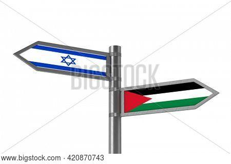 Relationship between Israel and Palestine. 3D illustration