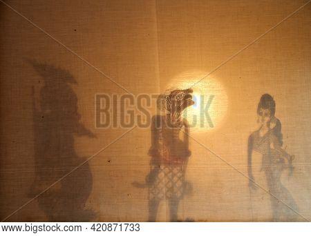 Bangkok, Thailand - January 31, 2008: Shadow Puppets Show Culture (thai Called 'nang Talung'), Tradi