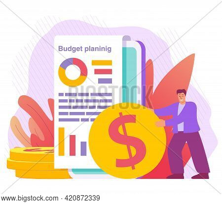 Budget Planing Concept.financial Administration.man Indication Of Expenses Or Spendings.