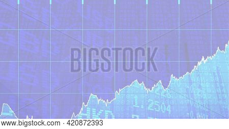 Composition of financial data processing over stock exchange readings. global finance and business success concept digitally generated image.