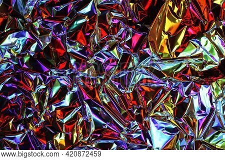 Foil Background. Crumpled Foil. Abstract Background. Wallpaper. Color Background