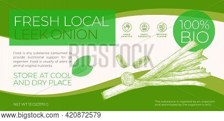 Fresh Local Vegetables Label Template. Abstract Vector Packaging Horizontal Design Layout. Modern Ty
