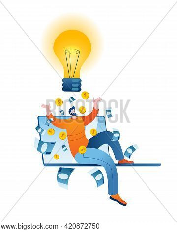 The Young Man Came Up With A Brilliant Idea That Brings Money. Concept Of A Vector Illustration On T