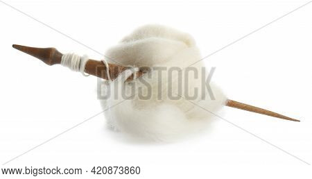 Ball Of Combed Wool With Wooden Spindle Isolated On White