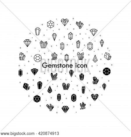 Crystals Flat Line Icons Set. Geometric Gems Diamonds. Simple Flat Vector Illustration For Geology,