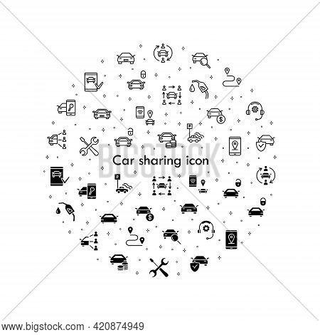 Car Sharing Flat Line Icons Set. Collaborative Consumption, Car Rental Service, Key, Blocked Car, Po