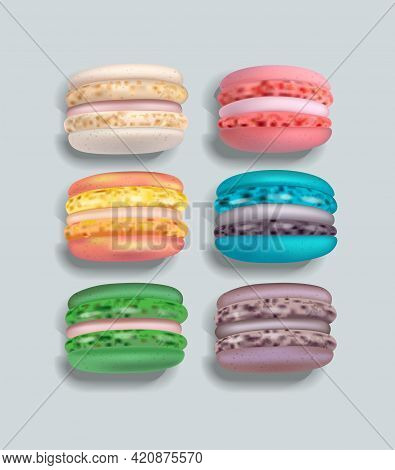 Colorful Macaroons Set Vector Realistic. 3d Detailed Illustrations