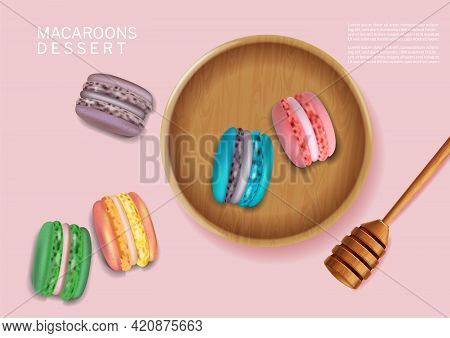 Colorful Macaroons Bowl Vector Realistic. 3d Detailed Illustrations
