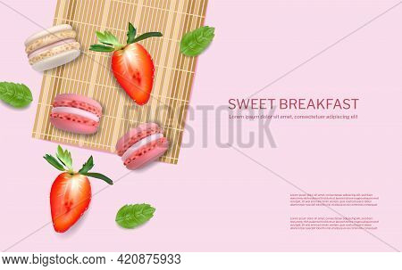 Strawberry Macaroons Vector Realistic. 3d Detailed Illustrations