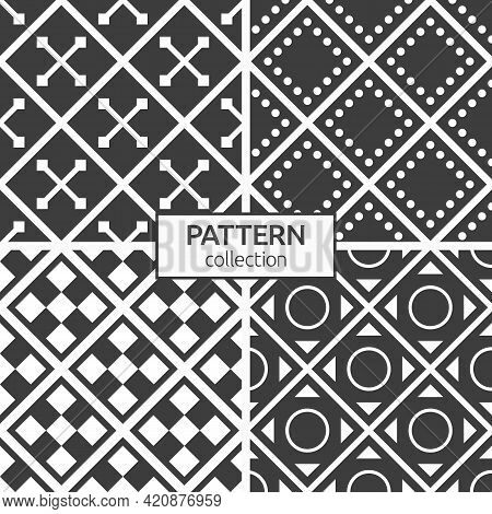 Set Of Four Rhombuses Tiles Seamless Patterns. Repeating Ornaments. Geometric Stylish Backgrounds. M