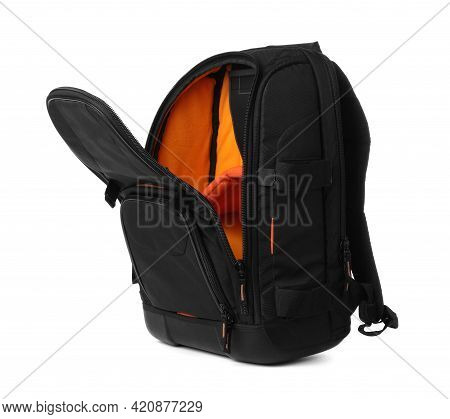 Backpack For Camera Isolated On White. Professional Accessory
