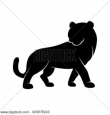 Black Silhouette Of A Standing Tiger Icon - Symbol Of The Year In The Chinese Zodiac Calendar. Vecto