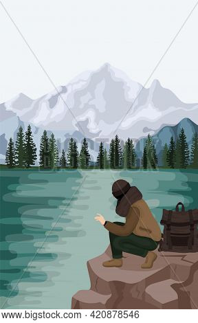 Man Relax Outdoor At Natural Landscape Vector Flat Illustration. Scenes With People Walking Alone, E