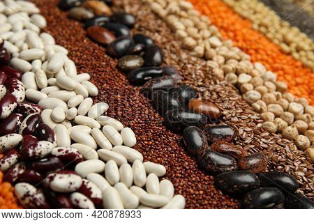 Different Grains And Seeds As Background, Closeup. Veggie Diet