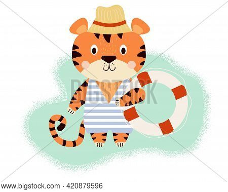 Cute Tiger. Funny Character On The Beach Wearing A Sun Hat, A Striped Swimsuit And A Lifebuoy In A P