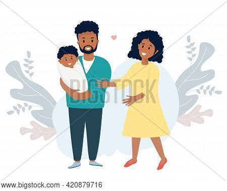 Family Life Concept. A Happy Black Husband Holds A Smiling Newborn Son In His Arms. A Lovely Woman-w