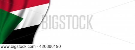 Sudan Flag On White Background. White Background With Place For Text Near The Flag Of Sudan.