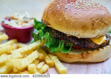 Hamburger And French Fries Tasty And Delicious Burger Fresh And Healthy Food Cooked Unhealthy Bun Br
