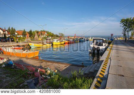 Krynica Morska, Poland - May 15, 2021: Fishing Port Of Krynica Morska Situated On Vistula Spit Betwe