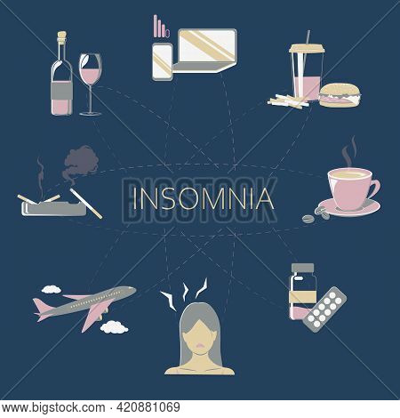 Causes Of Insomnia Infographic. Stress And Health Problem. Uncomfortable Pillow, Heavy Food, Medicin