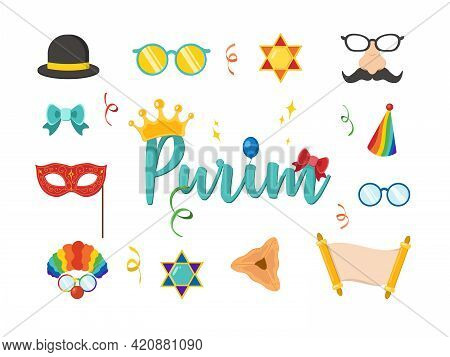 Design For Jewish Holiday Purim With Masks And Traditional Props. Purim Jewish Holiday Props For Mas