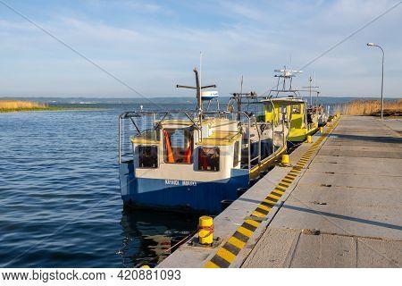 Krynica Morska, Poland - May 15, 2021: Fishing Boats Docked In Port Of Krynica Morska On Vistula Spi