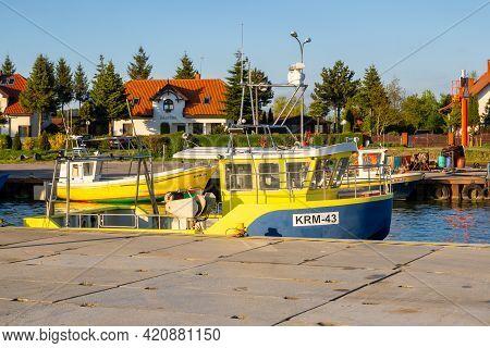 Krynica Morska, Poland - May 15, 2021: Fishing Boat Docked In Port Of Krynica Morska On Vistula Spit