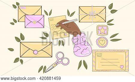 Different Envelopes. Letter In Envelope, Postcard Delivery And Handmade Craft Card.various Envelopes