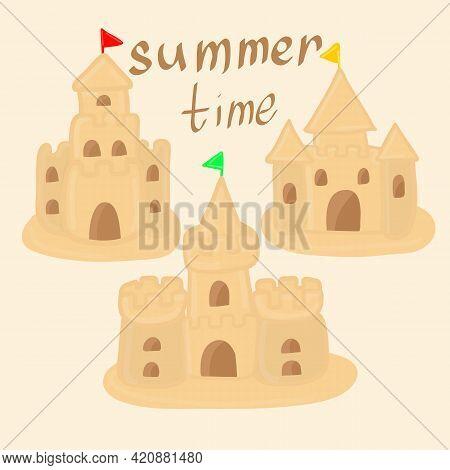 Sandcastle Vector Cartoon Set Icon. Isolated Cartoon Set Icon Sand Castle. Children S Summer Games O