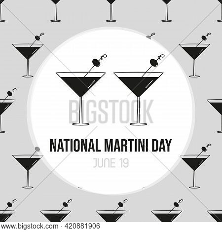 National Martini Day Vector Cartoon Greeting Card, Illustration With Couple Of Martini Cocktail Glas