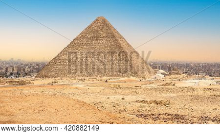 The Great Pyramid Of Cheops In Cairo, Egypt. Ancient Pyramid Against Sky. Pyramid Chufu Cheops - Kno