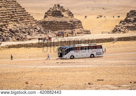 Cairo, Egypt - May 18 2021: Tourist Excursion Bus Of The Tour Operator Anex Tour, Brought Tourists T