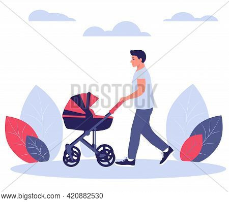 Happy Young Dad Walks With A Baby Stroller. Concept For Fathers Day. Vector Illustration In A Flat S
