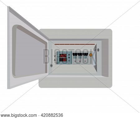 Isometric Electrical Panel With Fuses And Contactors. Voltage Relay. Electrical Fuse. Vector Illustr