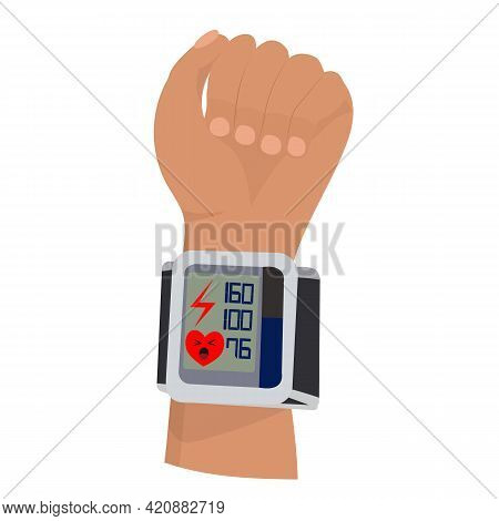 Hypertension Concept. Hand With A Tonometer. Vector Illustration.