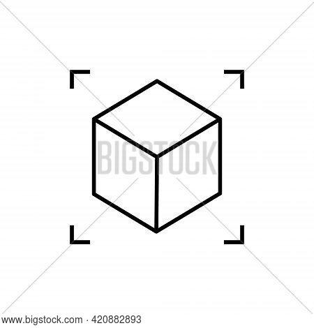 Ar Reality Symbol Vector Icon. Virtual Augmented Reality Cube Screen 3d Logo